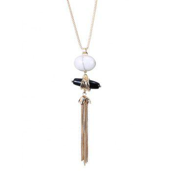 Trendy Natural Stone Sweater Chain For Women - GOLDEN