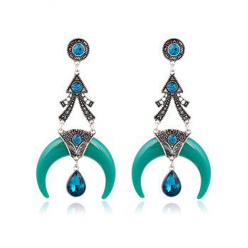 Pair of Faux Crystal Water Drop Moon Earrings