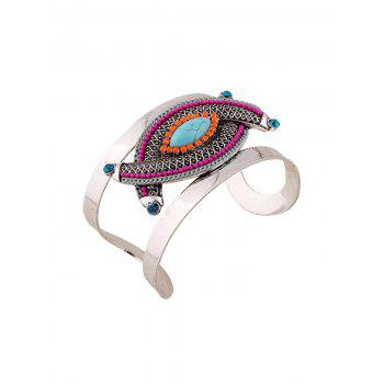 Ethnic Stone Decorated Oval Cuff Bracelet