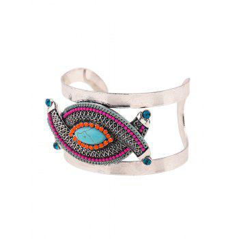 Ethnic Stone Decorated Oval Cuff Bracelet - PEACOCK BLUE