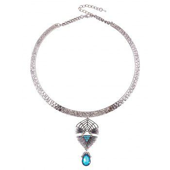Teardrop Faux Crystal Decorated Torque Necklace