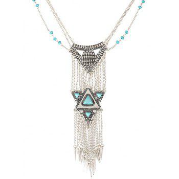 Triangle Faux Turquoise Tassel Necklace