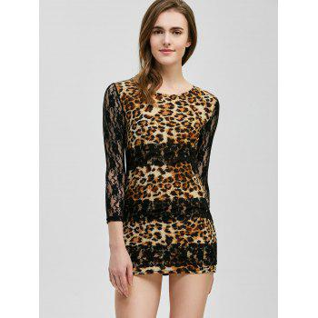 Mini Lace Panel Leopard Robe Sheer - Léopard ONE SIZE