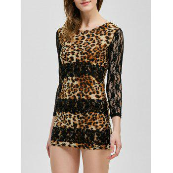 Mini Lace Panel Leopard Sheer Club Dress