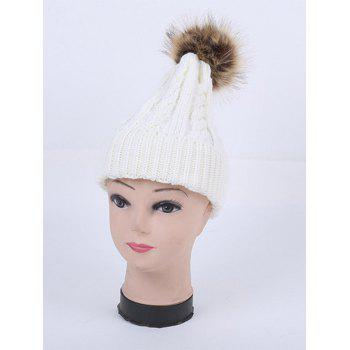 Stripy Cable Knit Pom Hat