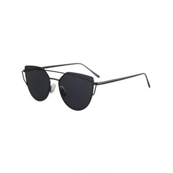 Fashion Metal Bar Black Frame Sunglasses For Women - BLACK BLACK