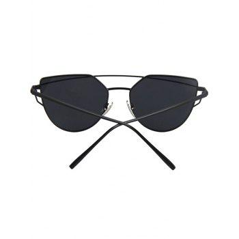 Fashion Metal Bar Black Frame Sunglasses For Women -  BLACK