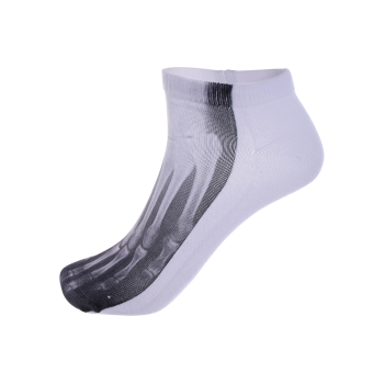 3D Foot Skeleton One Side Print Crazy Ankle Socks - WHITE