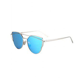 Fashion Metal Bar Silver Frame Sunglasses For Women - LIGHT BLUE LIGHT BLUE