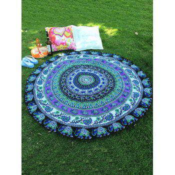 Ethnic Retro Style Bikini Boho Swimwear Indian Elephant Paisley Pattern Chiffon Round Beach Throw
