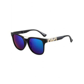 Fashion Flower Shape Bulge Black Frame Sunglasses For Women - BLUE BLUE