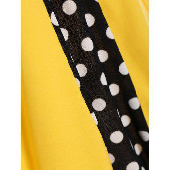 Polka Dot Sleeveless A Line Midi Dress - YELLOW XL