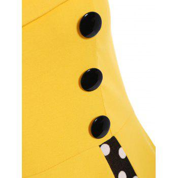 Polka Dot Sleeveless A Line Midi Dress - YELLOW 2XL