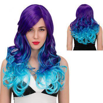 Adiors Side Parting Long Color Mix Wavy Synthetic Wig