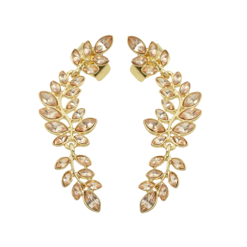 Faux Crystal Leaf Shape Ear Cuffs