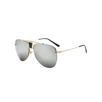 Streetwear Trapezoid Hollow Out Pilot Mirrored Sunglasses
