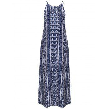 Bohemian Style Spaghetti Strap Sleeveless Print Maxi Dress For Women