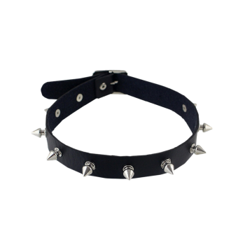 Faux Leather Rivet Choker Necklace - BLACK