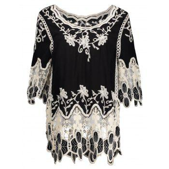Crochet Insert Hollow Out Embroidered Blouse