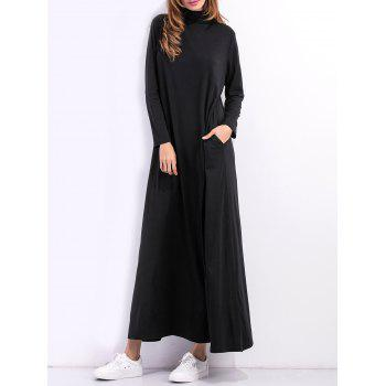 High Neck Casual Maxi Long Sleeve Dress