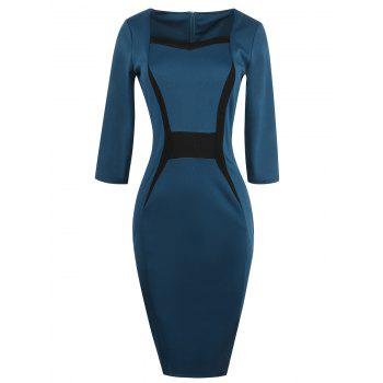 Slit Contrast Insert Bodycon Dress