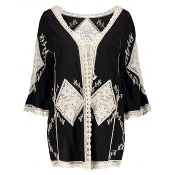 Embroidered Floral Crochet Insert Cover Up
