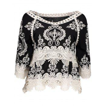 Tribal Embroidered Crochet Panel Blouse