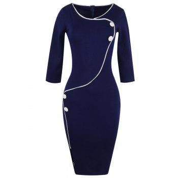 Button Design Fitted Pencil Work Dress