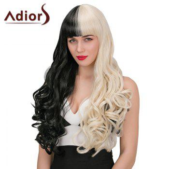 Adiors Long Neat Bang Double Color Wavy Synthetic Wig