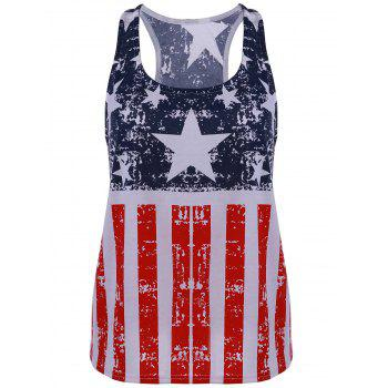 Scoop Neck American Flag Print Patriotic Tank Top