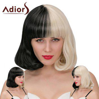 Adiors Neat Bang Double Color Short Slightly Curled Synthetic Wig