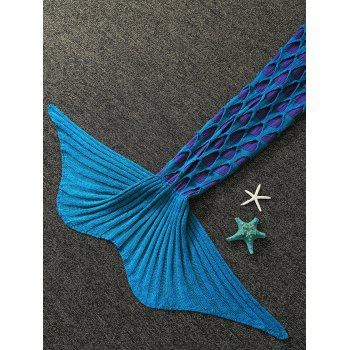 Trou brisé Double Deck tricotée Mermaid Blanket For Kids - Bleu Vert