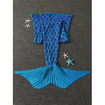 Broken Hole Double Deck Knitted Mermaid Blanket For Kids - BLUE GREEN BLUE GREEN