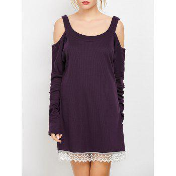 Cold Shoulder Lace Insert Mini Shift Dress