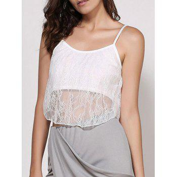 Spaghetti Strap White Lace Crop Top