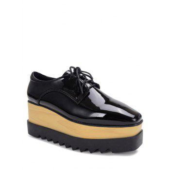 Leisure Lace-Up and Patent Leather Design Platform Shoes For Women