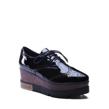 Stylish Engraving and Black Design Platform Shoes For Women