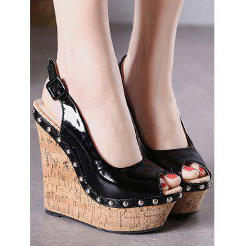 Stylish Rivet and Slingback Design Peep Toe Shoes For Women - BLACK 39