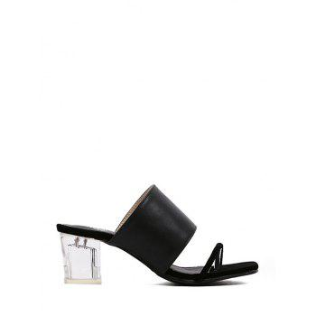 Stylish Crystal Heel and Black Design Slippers For Women