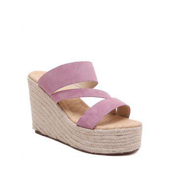 Trendy Weaving and Wedge Heel Design Slippers For Women