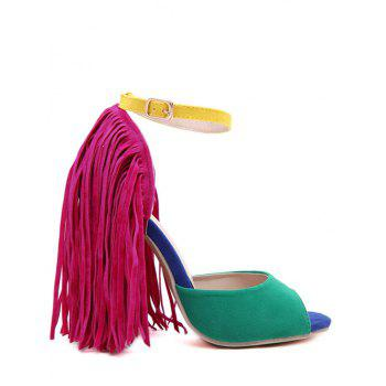 Party Peep Toe and Fringe Design Sandals For Women