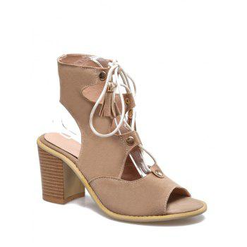 Leisure Peep Toe and Chunky Heel Design Sandals For Women