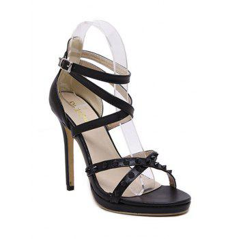 Trendy Cross-Strap and Rivet Design Sandals For Women