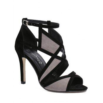 Stylish Color Matching and Peep Toe Design Sandals For Women