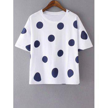 Stylish Round Neck Short Sleeves Polka Dot Women's T-Shirt