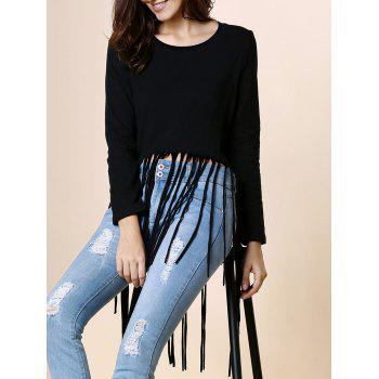 Stylish Round Neck Long Sleeve Black Tassels Women's T-Shirt