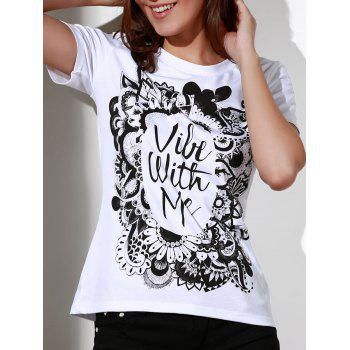 Casual Round Neck Short Sleeve Patterned Women's White T-Shirt