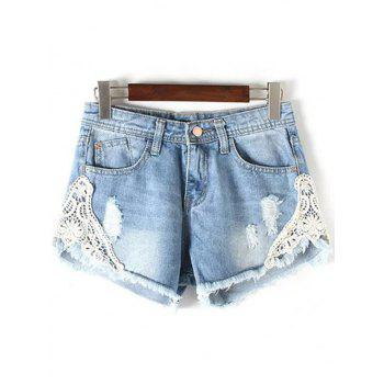 Chic Lace Detail Frayed Women's Denim Shorts