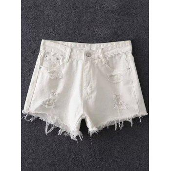 Trendy Frayed Pocket Design Women's White Shorts