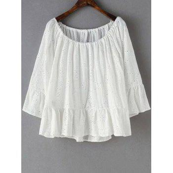 Trendy Scoop Neck Embroidery Flouncing Spliced T-Shirt For Women